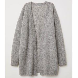 H&M Premium Quality Mohair Gray Long Cardigan M